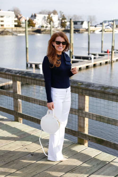 ted baker navy bow sweater and banana republic sailor jeans on design darling