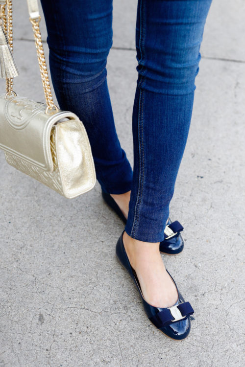 tory burch fleming bag and navy ferragamo flats on design darling