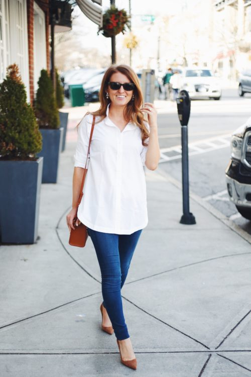 white button down tunic with skinny jeans on design darling
