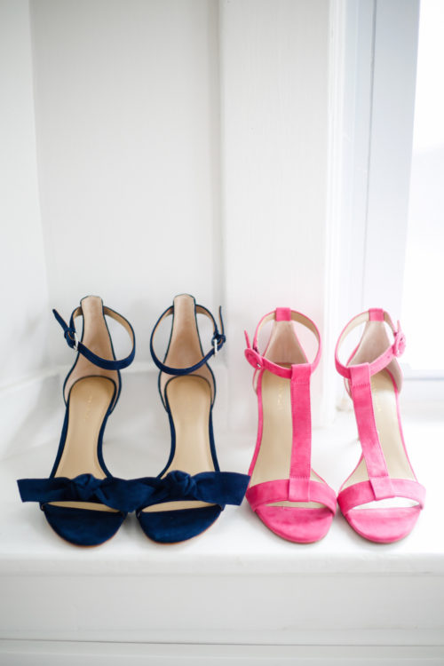 ann taylor demi suede t-strap sandals in pink and ann taylor erica suede bow sandals in navy blue