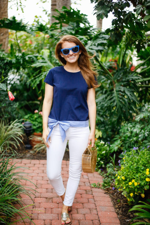 j.crew betty sunglasses in blue and j.crew side-tie t-shirt on design darling
