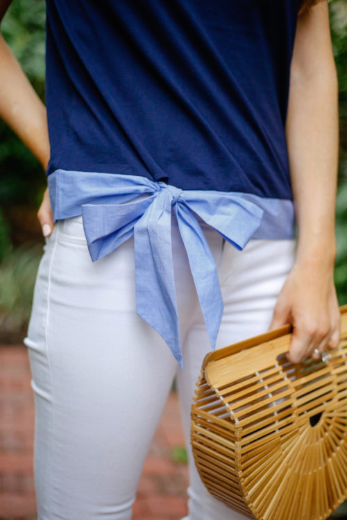 j.crew side-tie t-shirt bow top and cult gaia gaia's ark bag on design darling