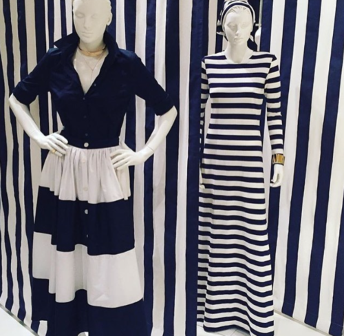mds stripes ball skirt and striped maxi dress