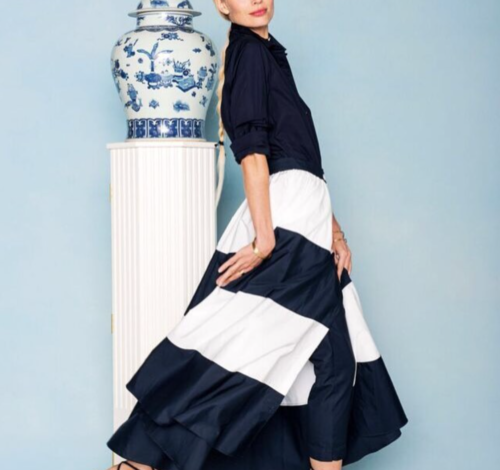 mds stripes navy and white stripe ball skirt
