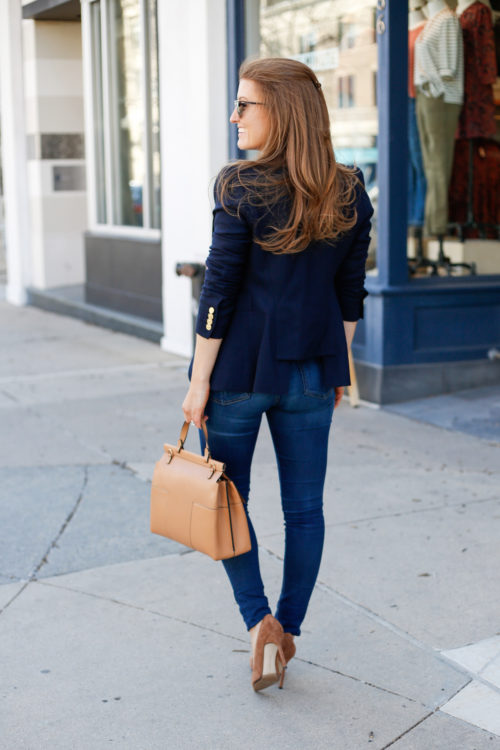 smythe navy blazer and tory burch block t top handle satchel