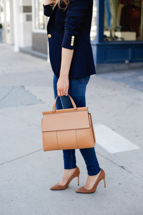 smythe navy blazer and tory burch top handle satchel
