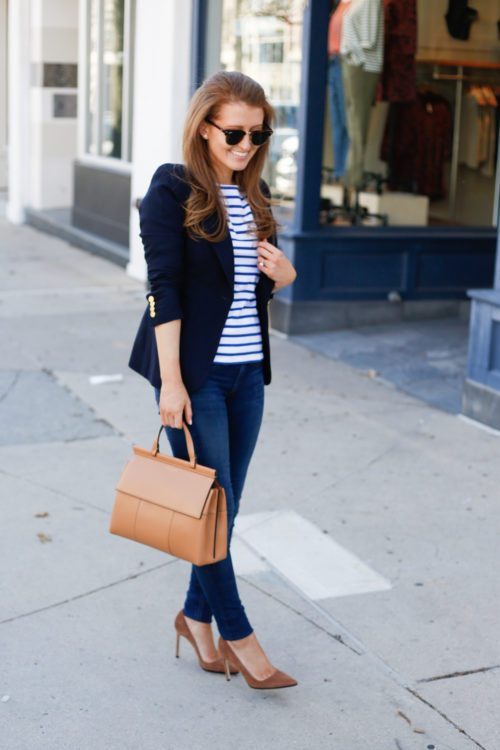 smythe navy blazer and tory burch top handle satchel on design darling