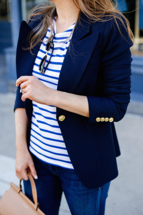 smythe navy blazer with striped shirt