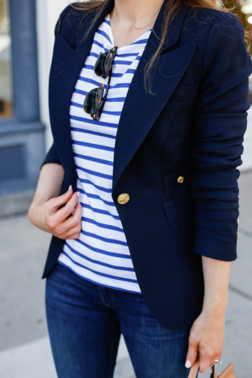 smythe one button blazer and saint james striped shirt on design darling