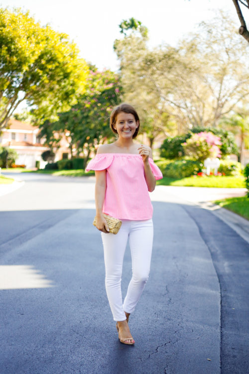 vineyard vines pink stripe off the shoulder top with j.mclaughlin bamboo clutch white jeans and loeffler randall scalloped wedges