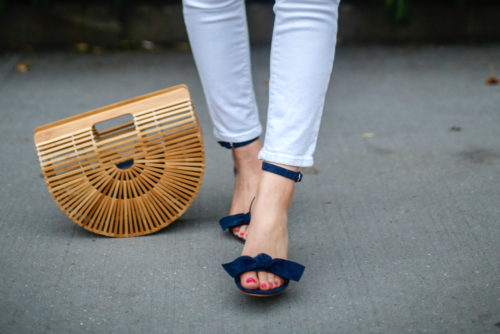 ann taylor erica suede bow sandals in navy on design darling
