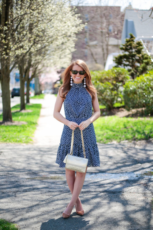 betsey johnson halter dress in navy and white polka dots