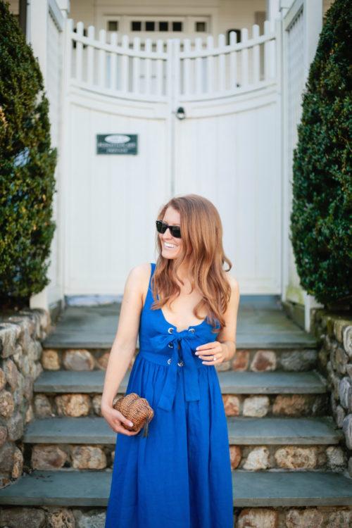 blue lace up maxi dress mara hoffman
