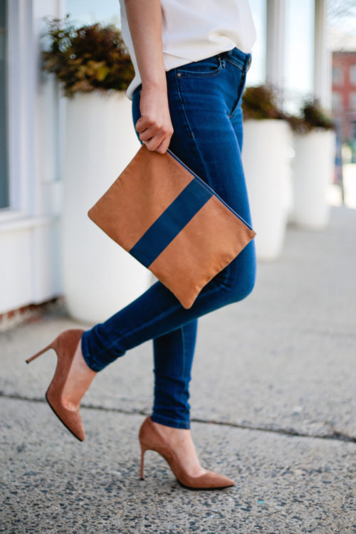 clare v flat stripe clutch in navy manolo blahnik bb pumps in camel on design darling