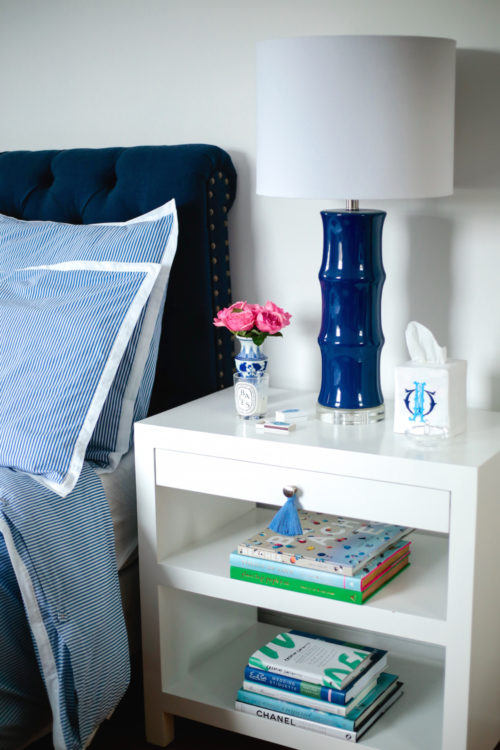 design darling bedside table from wisteria with pottery barn headboard and serena & lily oxford stripe bedding