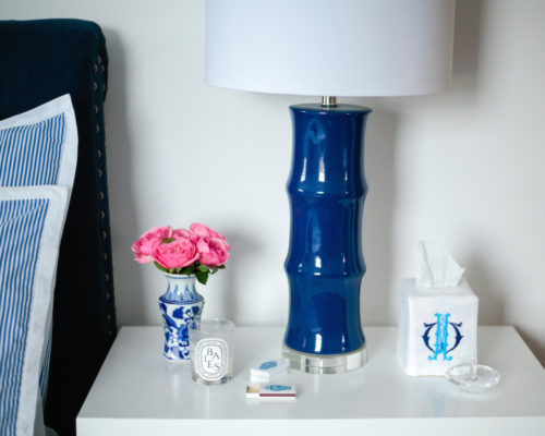 design darling bedside table with horchow navy bamboo lamp and etsy monogrammed tissue box cover