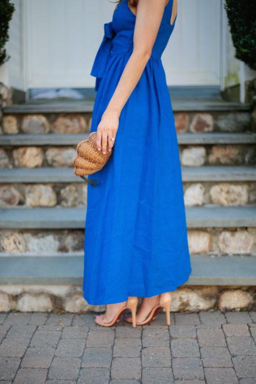 mara hoffman lace up maxi dress schutz cadey lee sandals kayu shell clutch