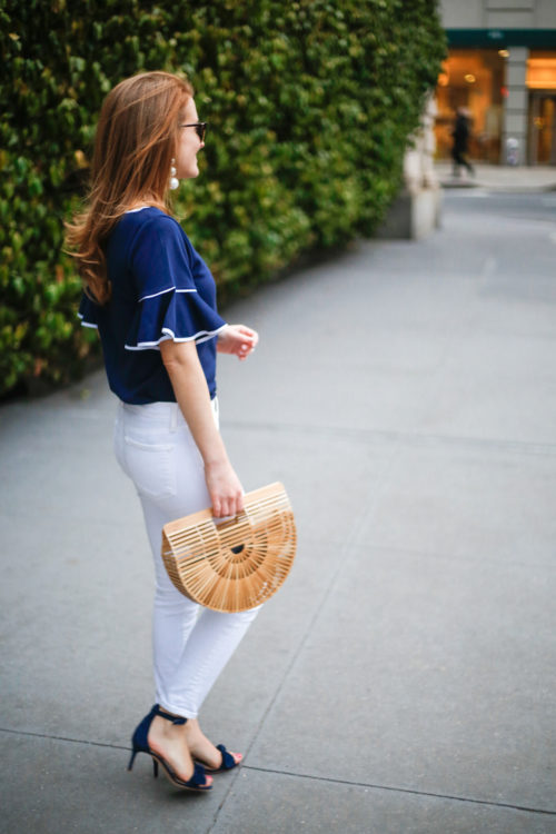 sail to sable ruffle sleeve top with ann taylor navy bow sandals