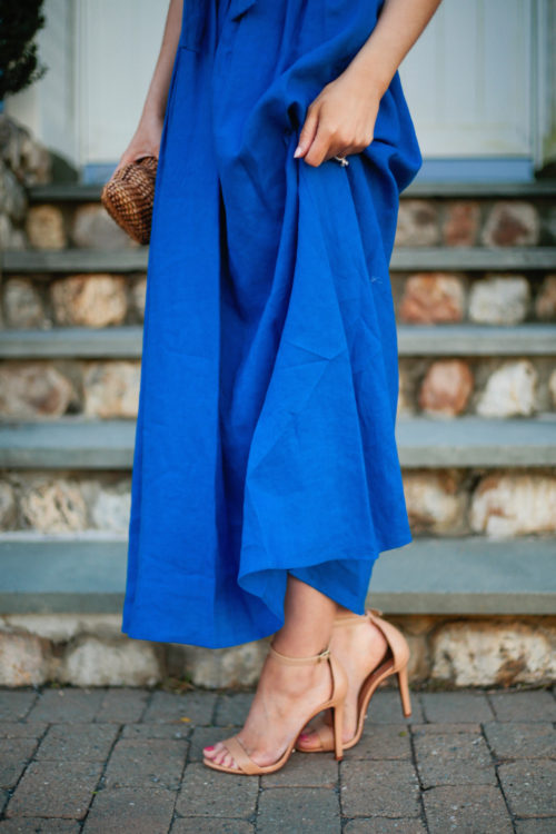 schutz cadey lee sandals in light wood with blue lace up maxi dress by mara hoffman