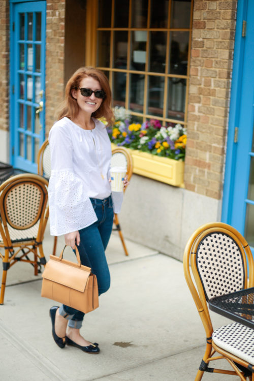 Banana Republic Easy Care Eyelet Flare-Sleeve Shirt Ferragamo Varina Flats in Oxford Blue and Tory Burch Block T Top Handle Satchel on Design Darling