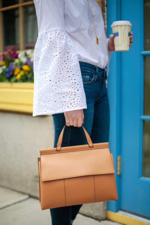 Banana Republic Easy Care Eyelet Flare-Sleeve Shirt and Tory Burch Block T Top Handle Satchel