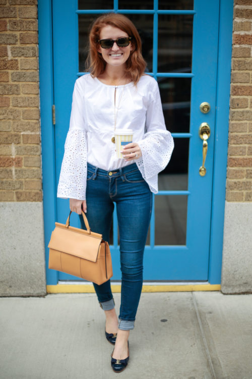 Banana Republic Easy Care Eyelet Flare-Sleeve Shirt in White Ferragamo Varina Flats in Oxford Blue and Tory Burch Block T Top Handle Satchel on Design Darling