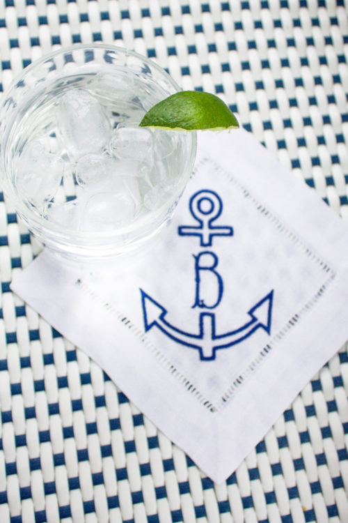 anchor monogrammed cocktail napkins