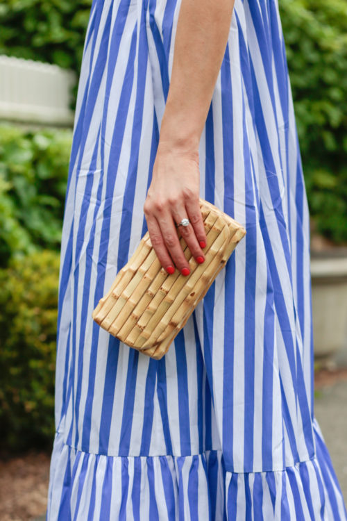 collection thomas mason for j.crew tiered ruffle dress and j.mclaughlin bamboo clutch