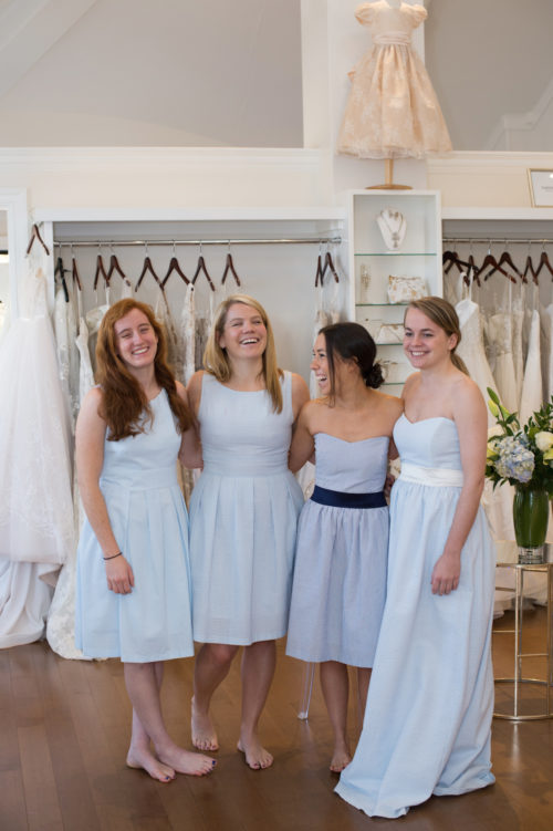 design darling long seersucker bridesmaids dresses by coren moore