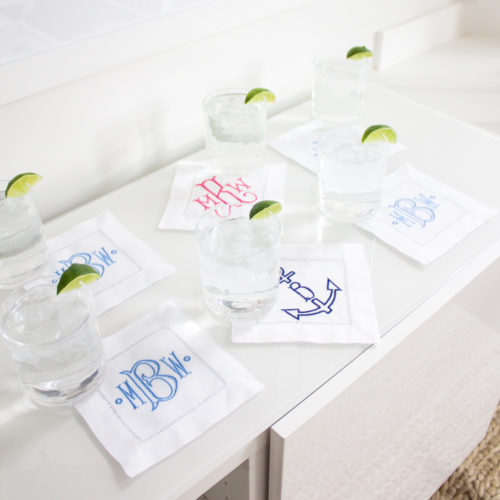 etsy monogrammed cocktail napkins