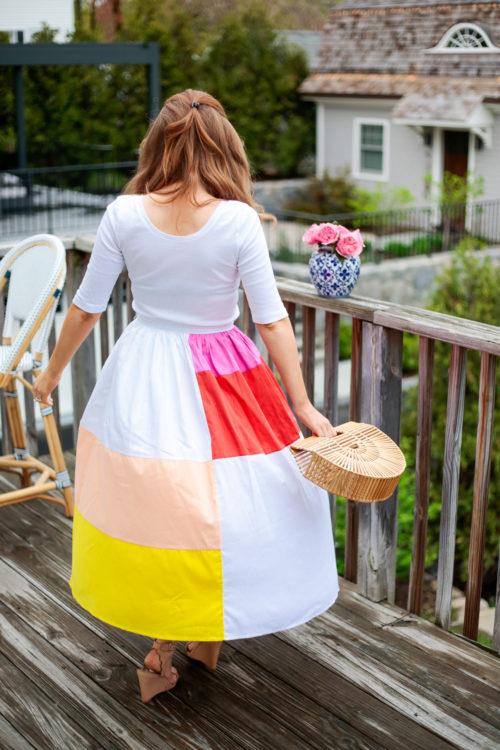 j.crew perfect-fit scoopneck t-shirt mara hoffman patchwork midi skirt cult gaia small ark bag