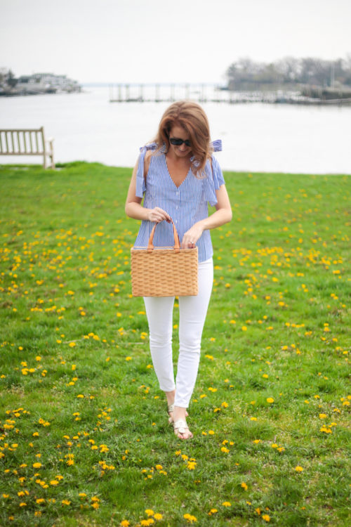 joa blue and white striped bow top and white jeans