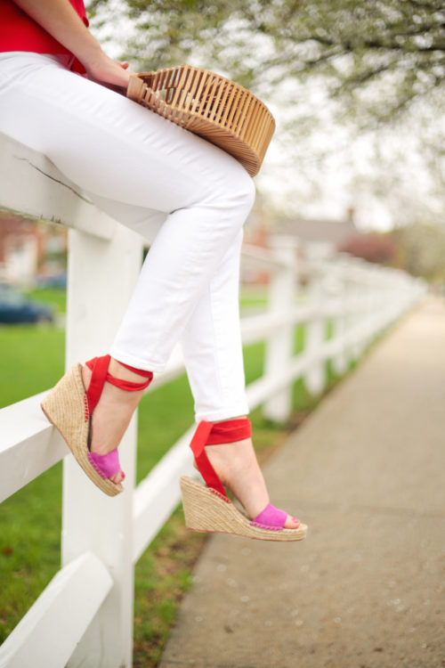 loeffler randall harper wedge espadrilles in pink and red