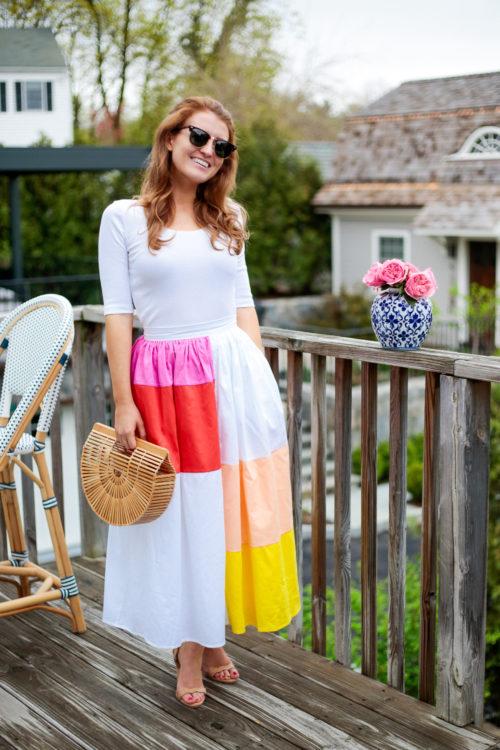 mara hoffman patchwork midi skirt on design darling