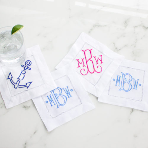 monogrammed cocktail napkins design darling