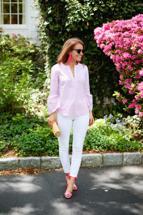J.Crew leather-backed sequin petal earrings J.Crew lookout high-rise crop jean in white J.McLaughlin natural bamboo clutch J.Crew satin colorblock sandals with ankle wraps