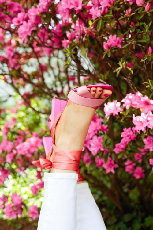 J.Crew satin colorblock sandals with ankle wraps in pink and orange copy 2