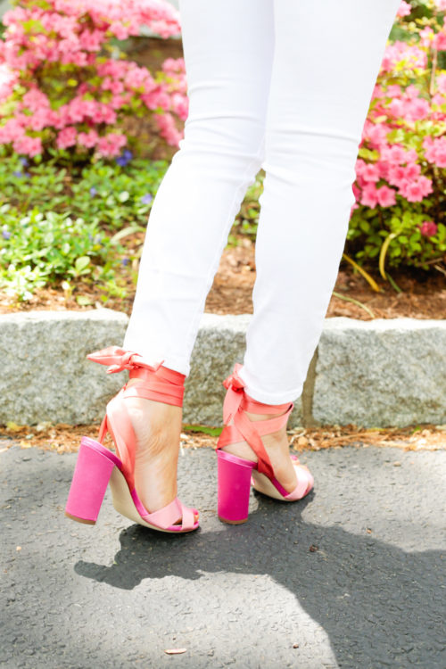 J.Crew satin colorblock sandals with ankle wraps on Design Darling