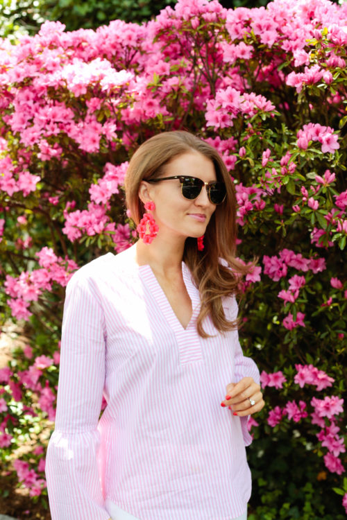Ray-Ban clubmasters, J.Crew striped bell-sleeve top, and J.Crew leather-backed sequin petal earrings