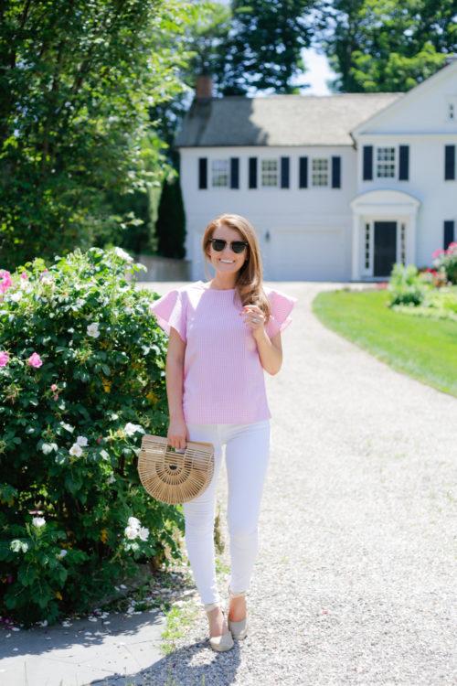 draper james cloister top in pink gingham