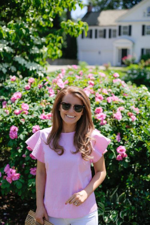 draper james cloister top pink gingham