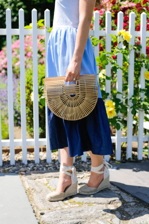 english factory chambray maxi dress cult gaia small ark bag and soludos wedge espadrilles