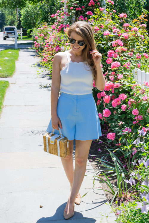 milly scallop top blaque label high waisted short milly wicker small satchel and sam edelman rae flats
