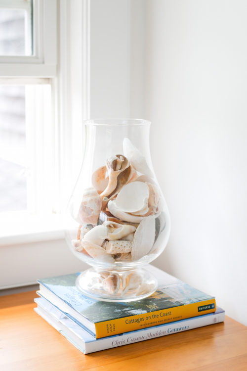 seashells in hurricane vase on design darling
