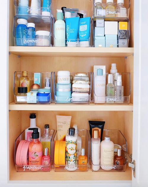 beauty product organization the home edit
