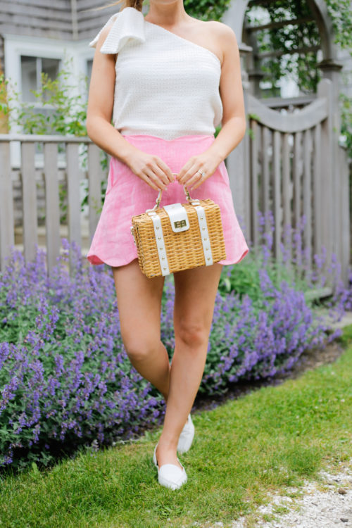 club monaco jumbalaya top paper london fraise shorts in pink milly wicker satchel m.gemi stellato flats in white