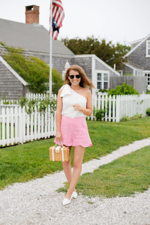 club monaco jumbalaya top paper london fraise shorts milly wicker satchel and m.gemi stellato flats