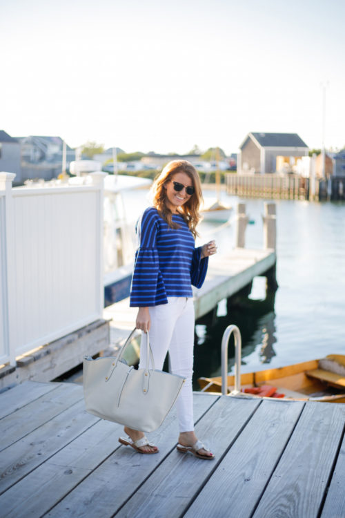 design darling j.crew striped bell-sleeve t-shirt and annabel ingall large isabella tote in ivory leather nantucket