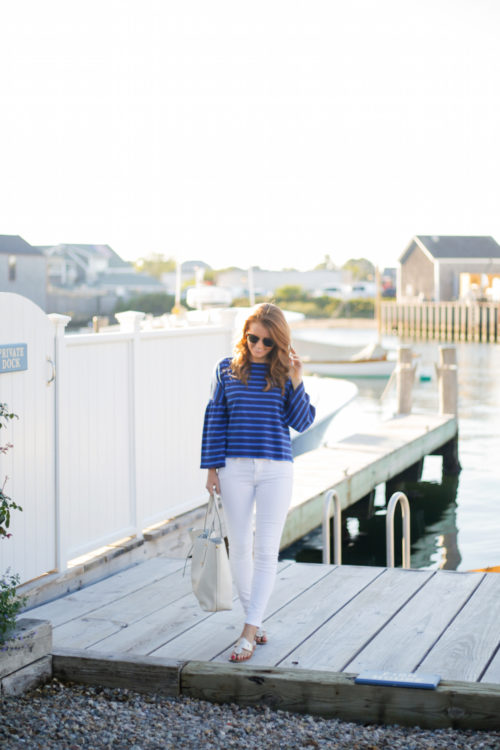 design darling j.crew striped bell-sleeve t-shirt and annabel ingall large isabella tote in ivory leather on nantucket