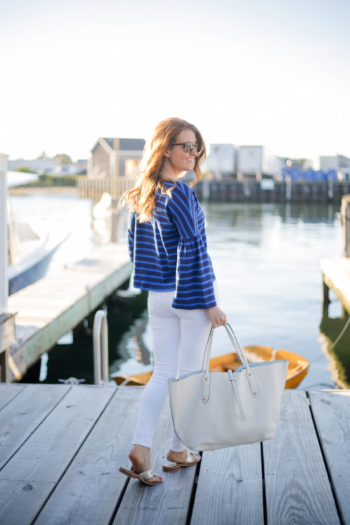 design darling j.crew striped bell-sleeve t-shirt annabel ingall large isabella tote in ivory leather